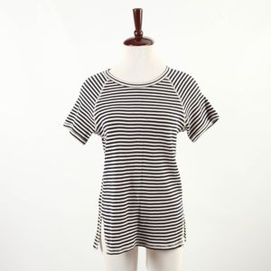 THEORY - Short Sleeve Striped Cotton Blouse - L